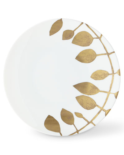 Daphne White Gold-Leaf Dinner Plate