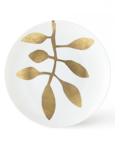 Daphne Gold-Leaf Dessert Plate, White