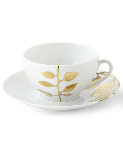 Daphne White Gold-Leaf Breakfast Cup & Saucer
