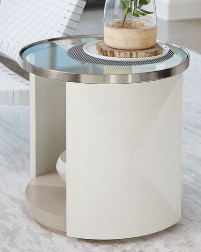 Axiom Glass-Top Oval Side Table