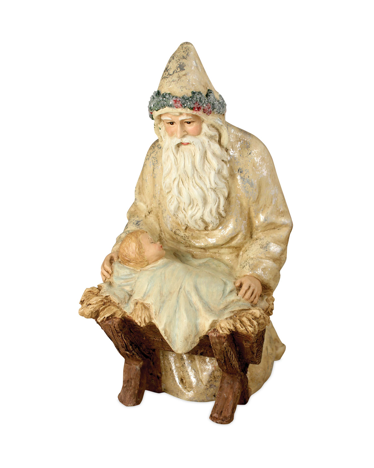 Father Christmas at the Manger Christmas Decor Statue