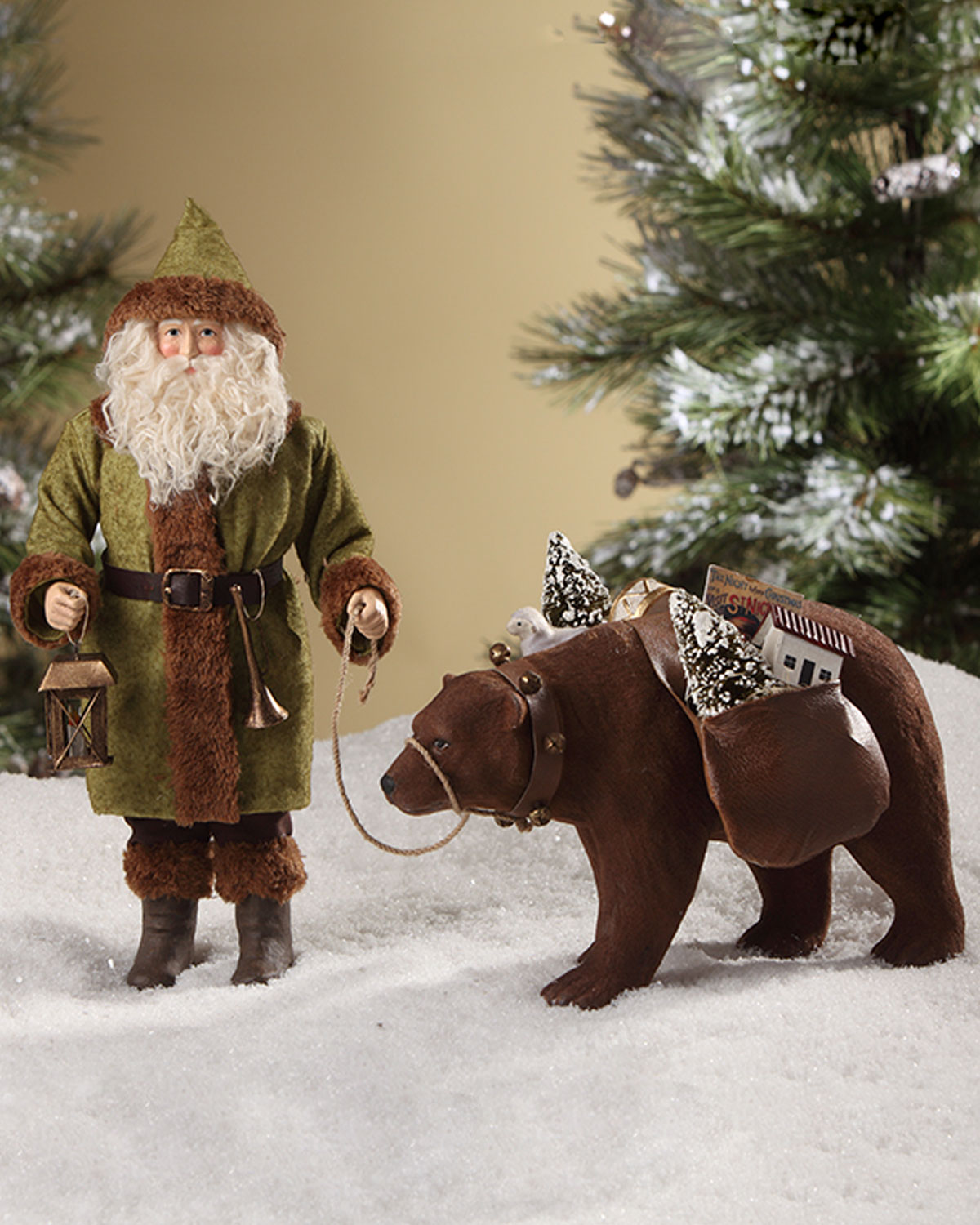 Woodland Santa Leading Bear