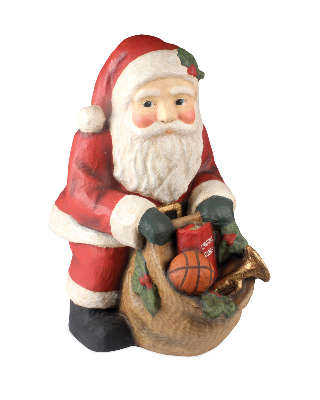Santa with Bag Large Paper Mache Christmas Decor