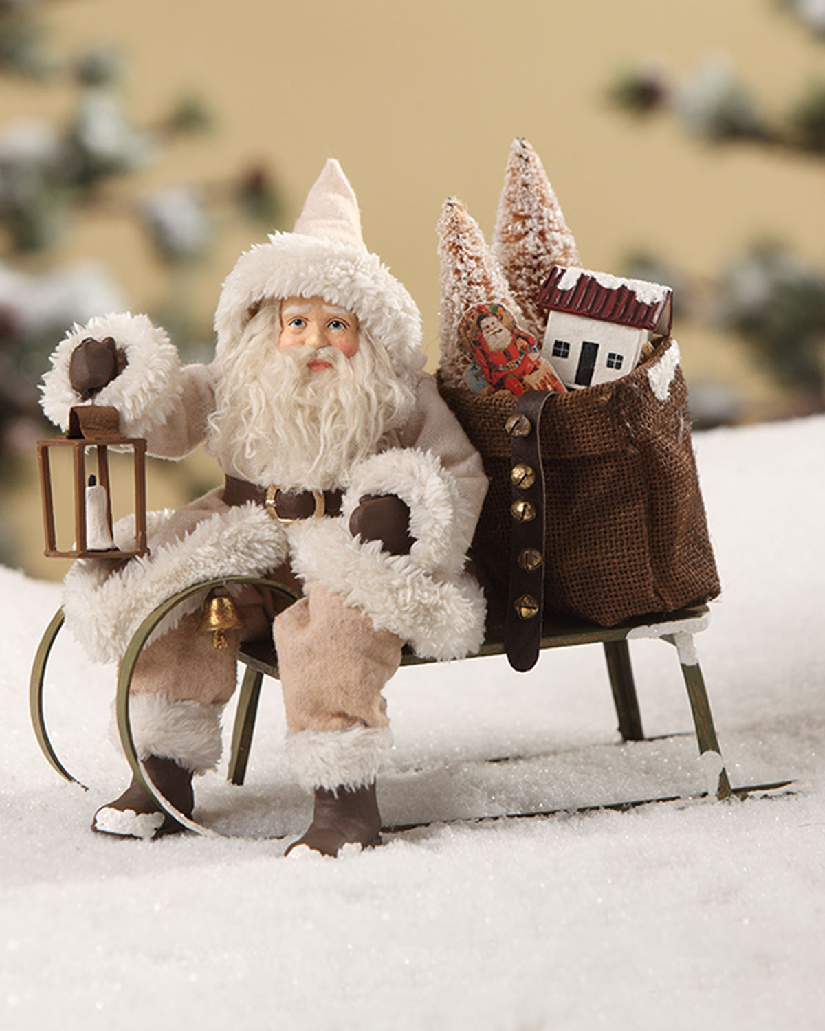 Woodland Santa on Sled Christmas Decor