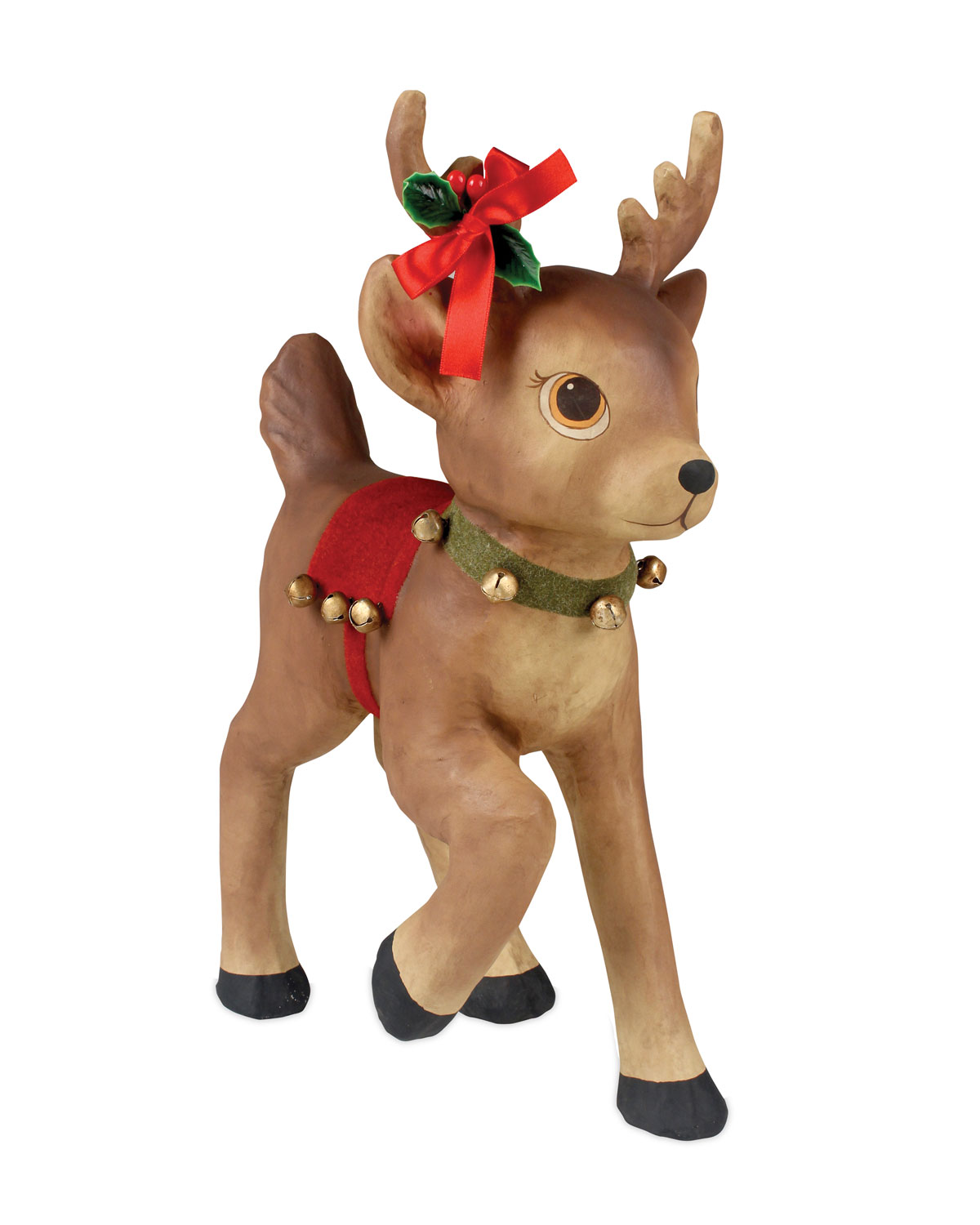 Retro Reindeer with Bells Large Paper Mache Christmas Decor