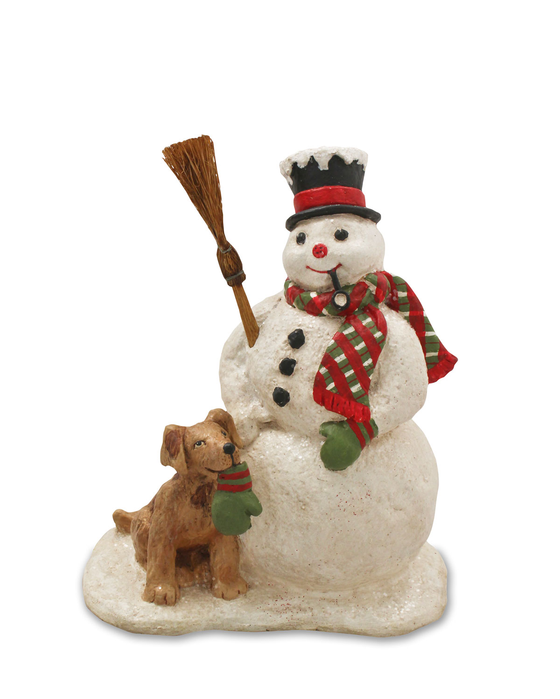 Snowman and Dog Christmas Decor Statue