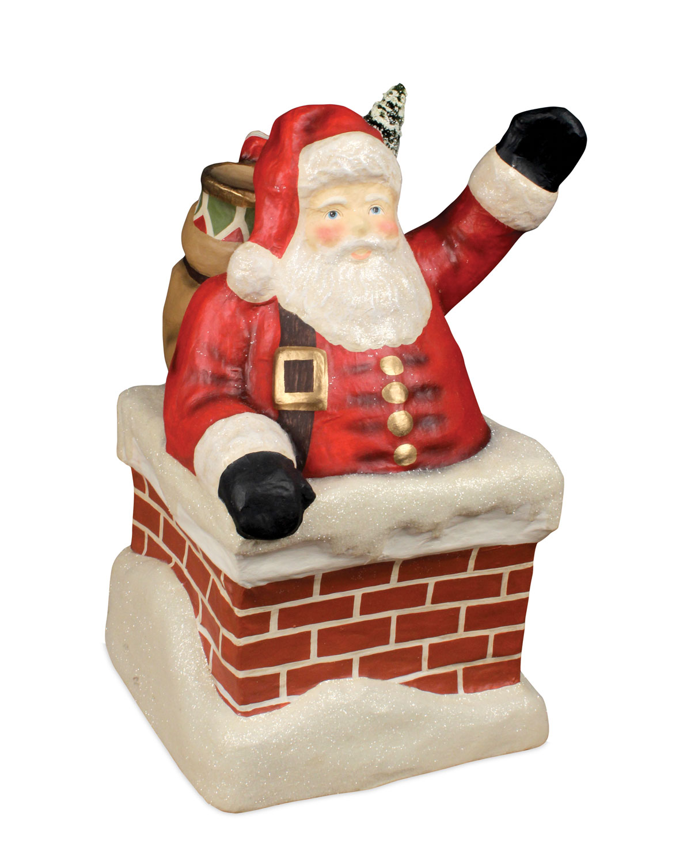 Santa in Chimney Large Paper Mache Christmas Decor
