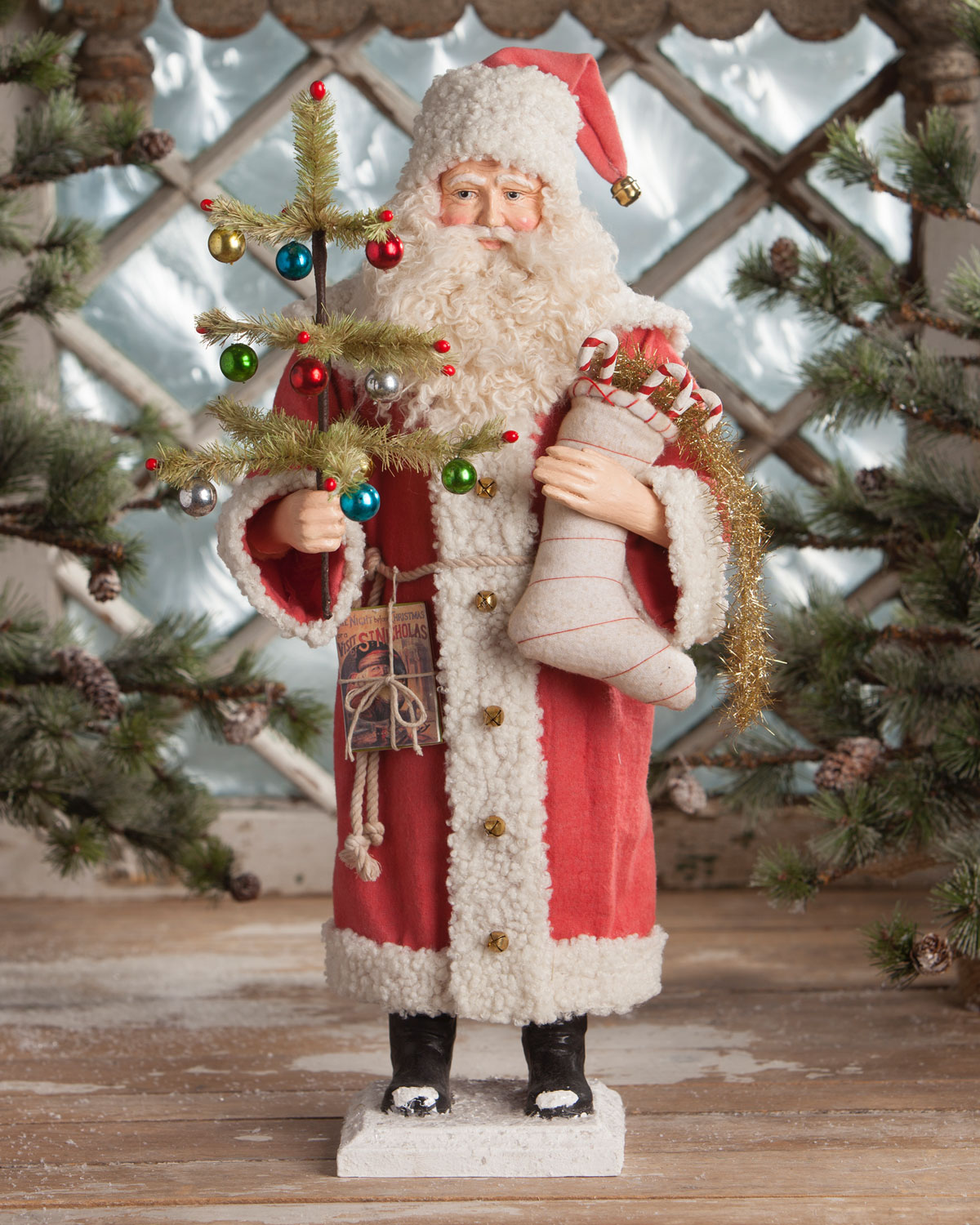 Vintage-Style Santa with Stocking Christmas Decoration