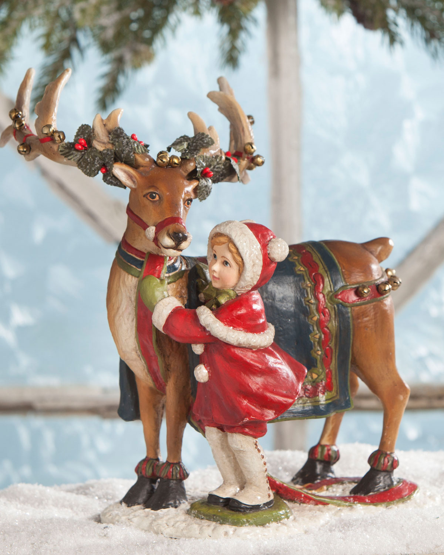 Dressing the Reindeer Christmas Decor Statue