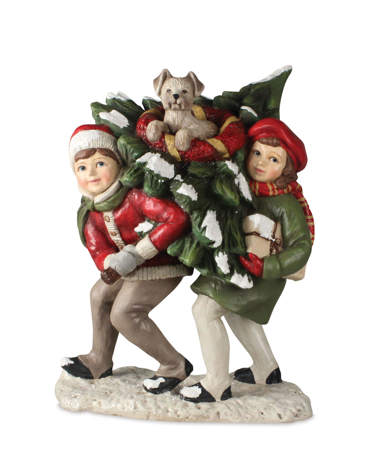 Bringing Home the Tree Christmas Decor Statue
