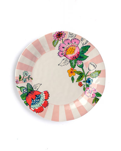 Coral Floral Dinner Plate
