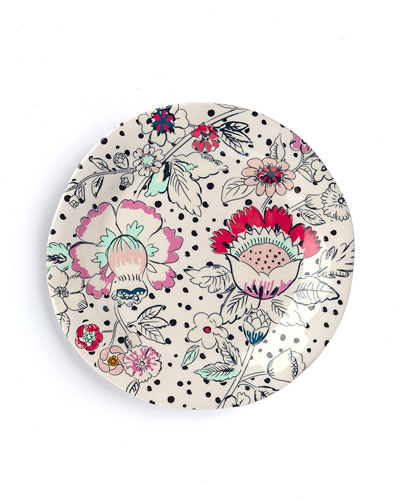 Coral Floral Accent Plate