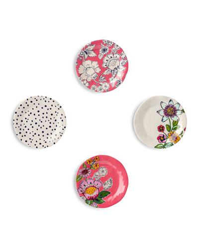 Coral Floral Tidbit Plates, Set of 4