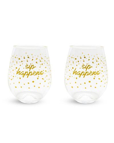 Dots Stemless Wine Glasses, Set of 2