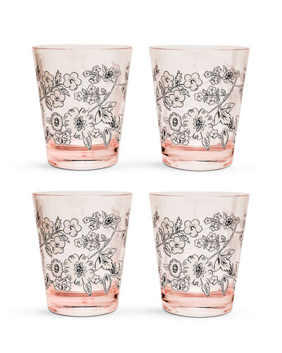 Coral Floral Tumblers, Set of 4