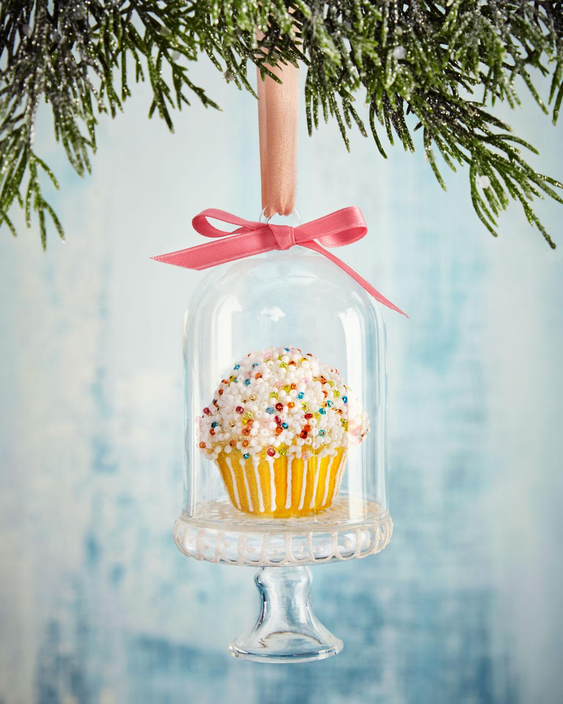 Cupcake with Dome Christmas Ornament