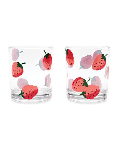 strawberries drinking glasses, set of 2