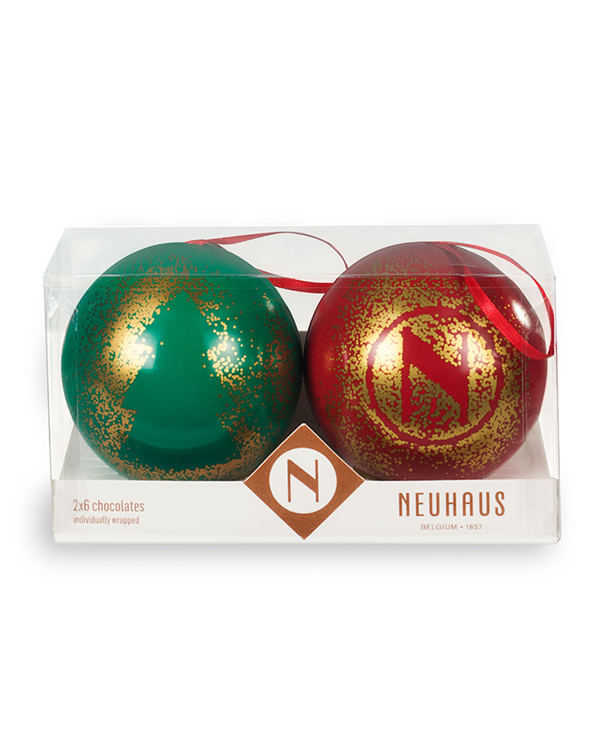 Classic Chocolate Filled Ornaments, Set of 2