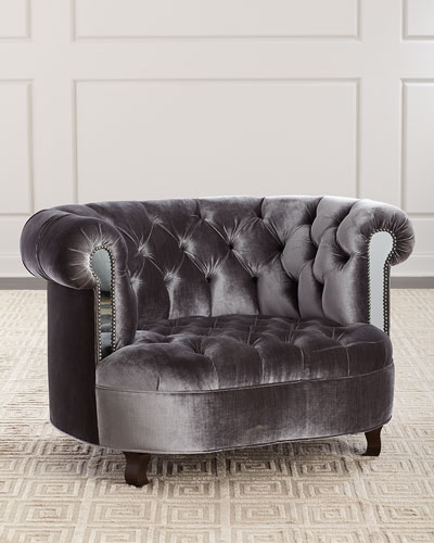 Rebecca Tufted Chair with Mirror Accents