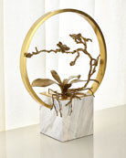 John-Richard Collection Antiqued Brass Orchid Table Top Sculpture