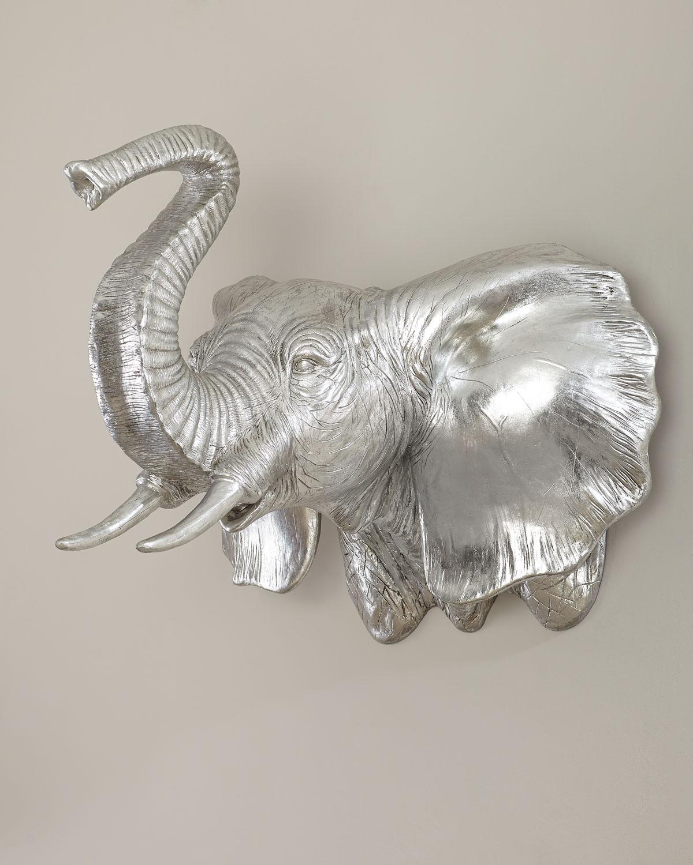 Elephant Silver Leaf Wall Sculpture