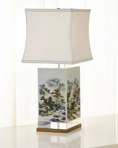 White & Green Forest Table Lamp