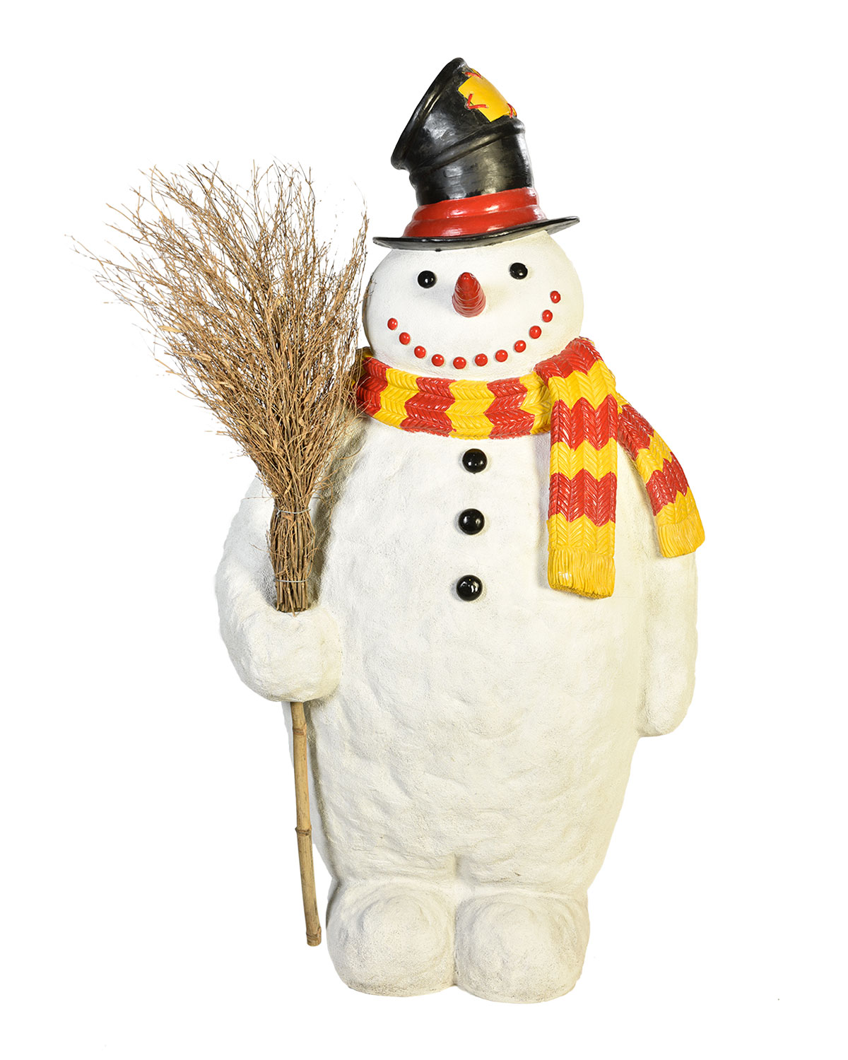 Live Form Snowman with Broom and Top Hat Outdoor Christmas Decoration
