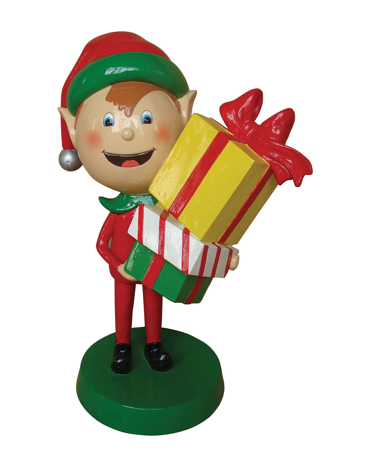 Live Form Elf with Gift Box Outdoor Christmas Decoration