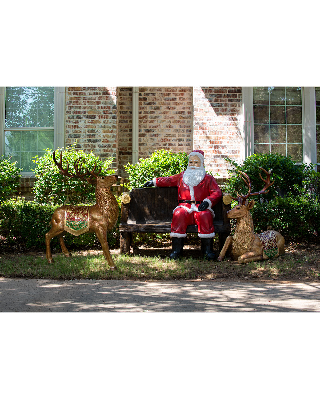 Life-Size Santa and Bench Christmas Decoration
