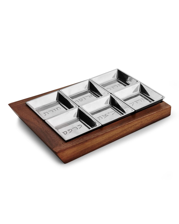 Nambe Judaica Geo Seder Plate In Brown And Silver