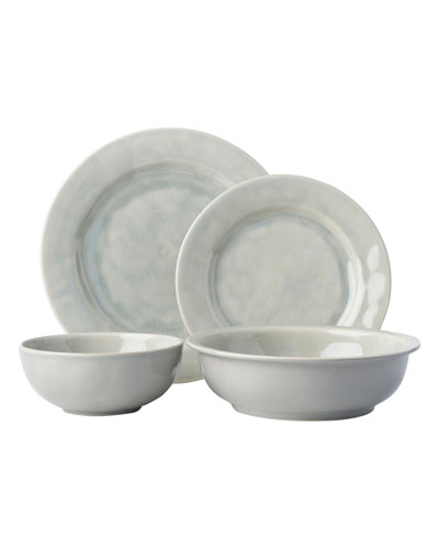 4-Piece Puro Grey Mist Crackle Dinnerware Place Setting