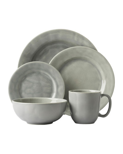 5-Piece Puro Mist Grey Crackle Dinnerware Place Setting