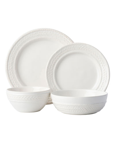 4-Piece Le Panier Whitewash Dinnerware Place Setting