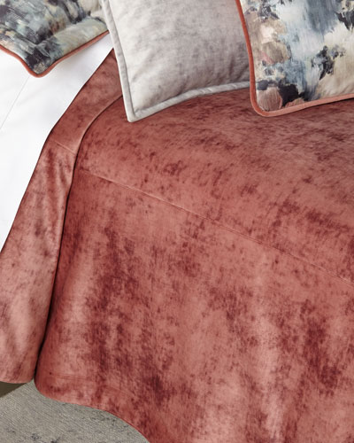 All in Bloom Solid Velvet 3-Piece Queen Coverlet Set