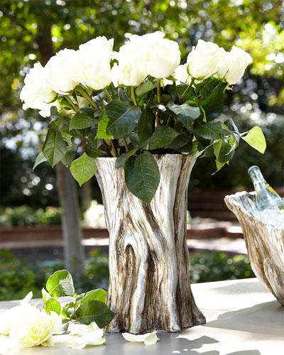Faux Bois Tree Trunk Vase