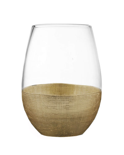 Linen Gold Stemless Wine Glasses, Set of 4