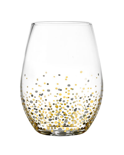 Ombre Confetti Stemless Wine Glasses, Set of 4