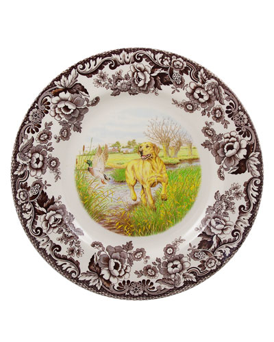 Woodland Hunting Dogs Yellow Lab Dinner Plate