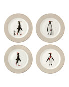 Portmeirion Sara Miller London Penguins Assorted Dessert Plates,