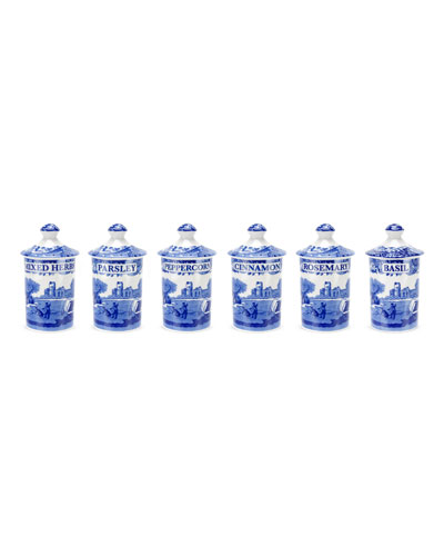 Blue Italian Spice Jars, Set of 6