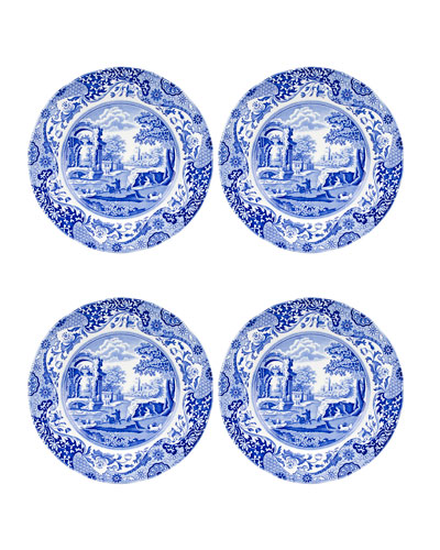 Blue Italian Dinner Plates, Set of 4
