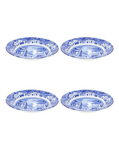 Blue Italian Soup Plates, Set of 4