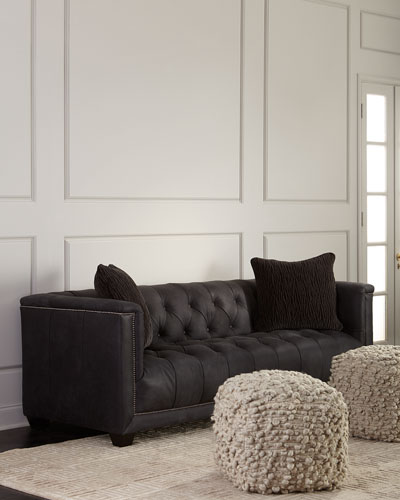 Paxton Tufted Leather Sofa, 90