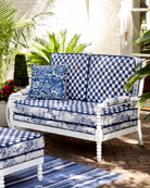MacKenzie-Childs Indigo Villa Outdoor Settee