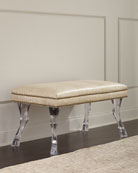 Massoud Centaur Croc-Embossed Leather Bench