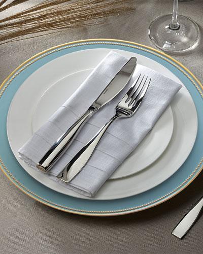 Elle Blue/Gold Rimmed Chargers, Set of 4