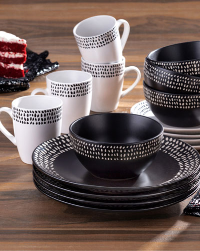 Aylin Black & White 16-Piece Dinnerware Set