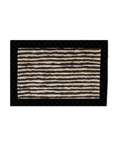 Black Braided Stripe Jute Rug, 2' x 3'
