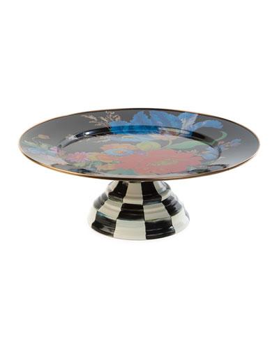 Flower Market Pedestal Platter, Black
