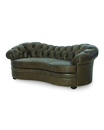Ebron Curved Leather Sofa, 88